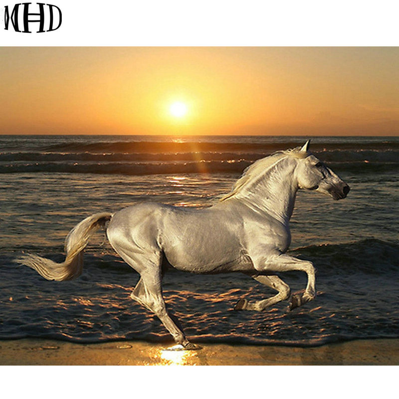 MHD New 5D Diy Diamond Embroidery Horse Seaside Sunset, 3D Diamond Painting Horse, Full Circle & Square Diamond Cross Stitch