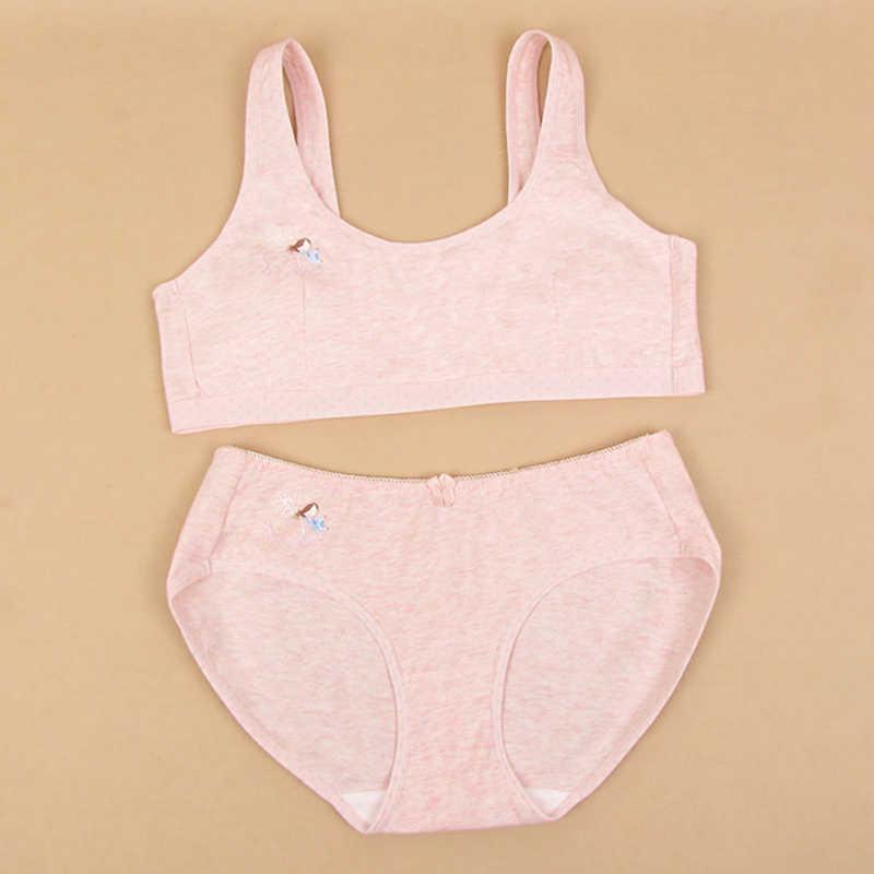 3dac64a051254 2018 Feichangzimei Teenage Girl Underwear Set Cotton Pink Gray  Yellow  Training Bra Set For Pubescent Girl-100610S