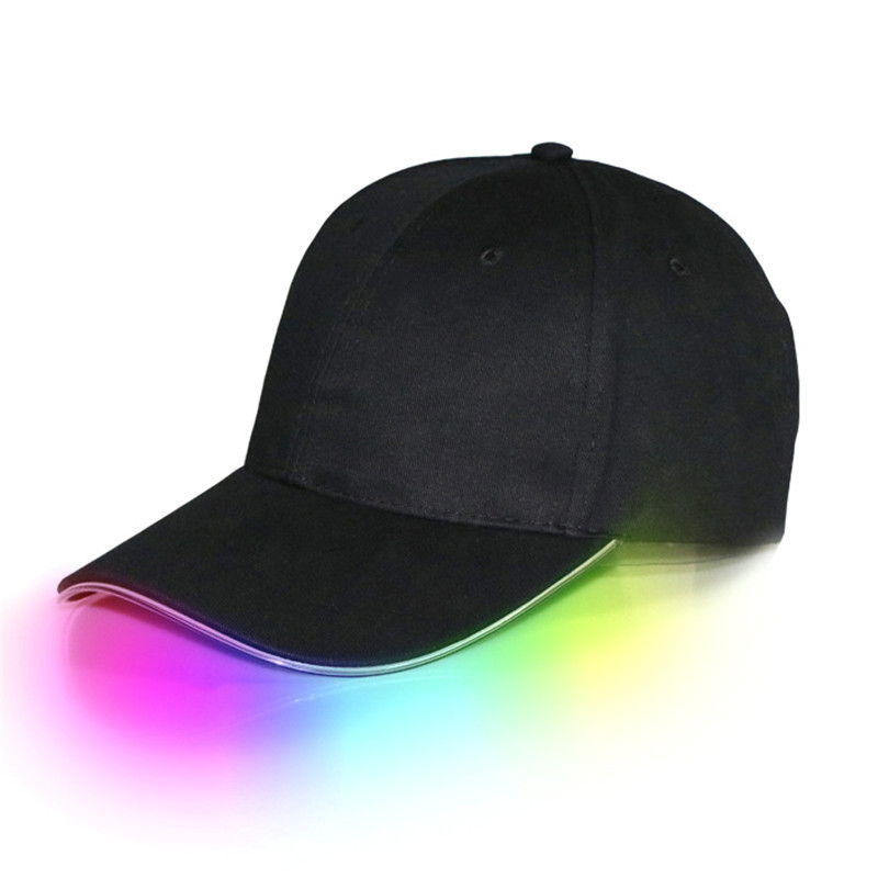 LED Light Cap Hat Team Baseball Cap for Women Men Fitted Hats Glow in the Dark Fishing Sport Travel Hat ...
