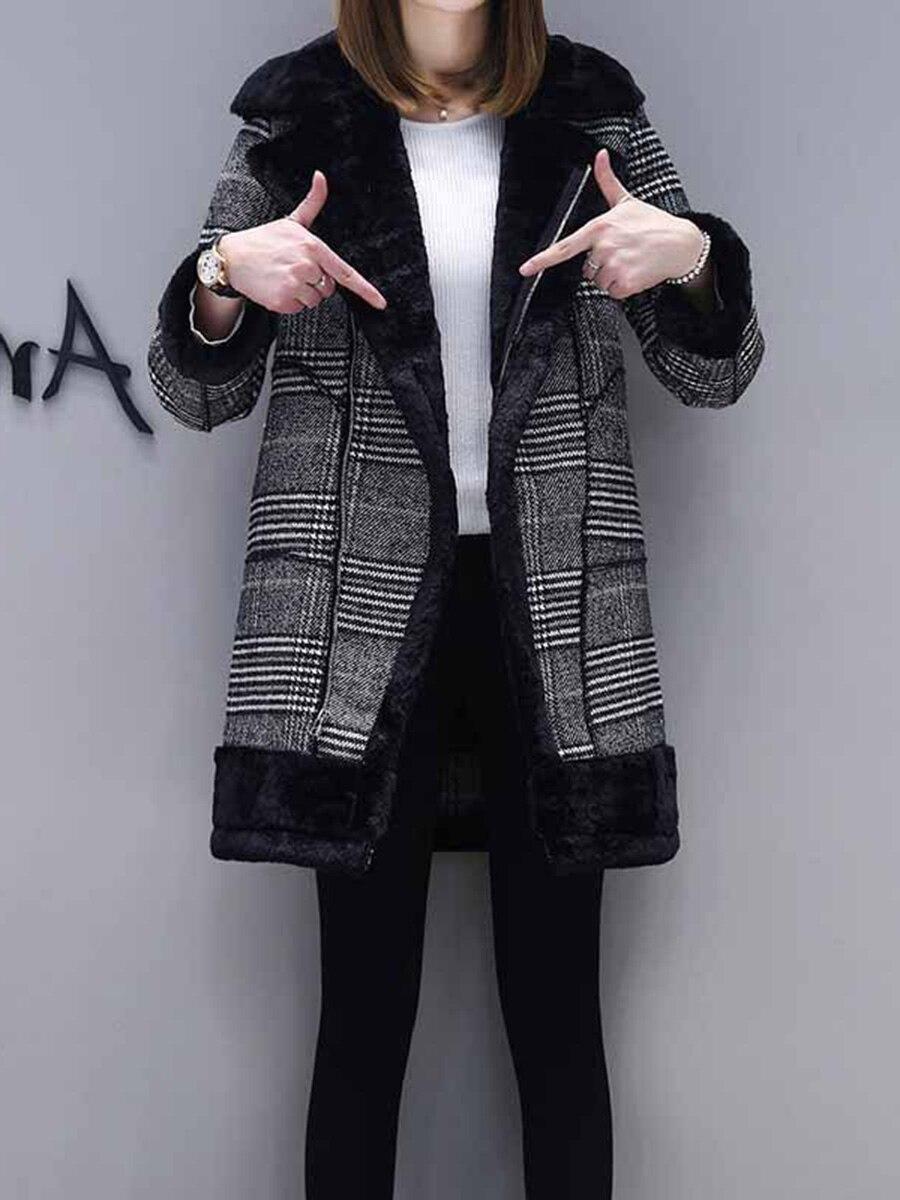 Plaid manteau femmes d'hiver en fausse fourrure vêtements d'extérieur chauds décontracté mi-longue-manteau noir un bouton lâche grande taille 2XL laine longue manteau femmes