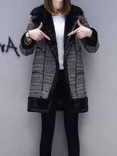 d2098dbc69426 Клетчатое Женское пальто зимнее из искусственного меха теплая верхняя  одежда повседневное средней длины пальто черный одна пугов.