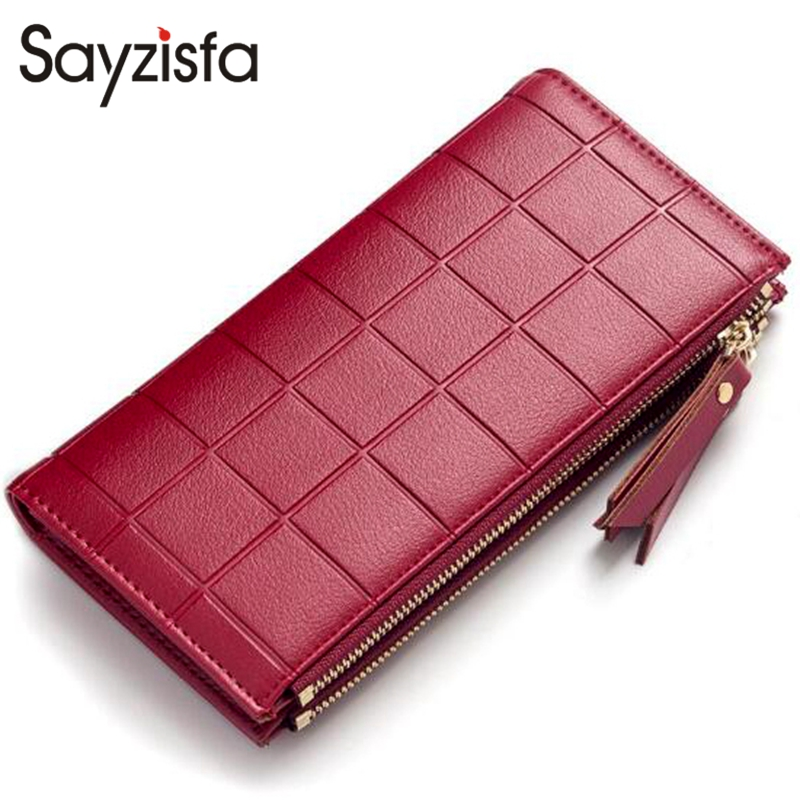 Sayzisfa Women Leather Purse Plaid Wallets Long Ladies Colorful Red Clutch 10 Card Holder Coin Bag Female Double Zipper Girl 595