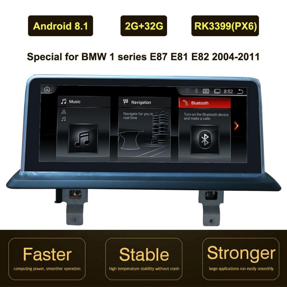 10.25 pouces IPS écran Android 8.1 voiture GPS Navigation pour BMW 1 série E87 E88 E81 E82 2004-2011