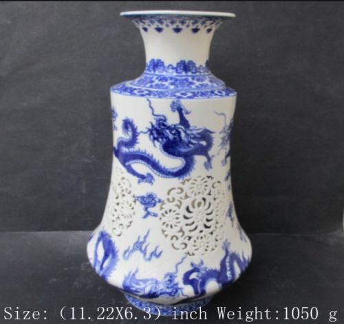 Christmas Gifts Old Chinese blue and white porcelain dragon suit hollow-out the vase  AdornmentChristmas Gifts Old Chinese blue and white porcelain dragon suit hollow-out the vase  Adornment
