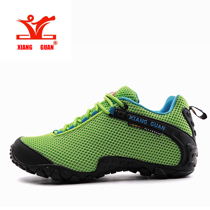 XIANGGUAN Woman Hiking Shoes For Women Camping Mesh Breathable Trekking Sneakers Outdoor Walking Mountain Antiskid Green Red xiangguan man hiking shoes men waterproof trekking boots green breathable sport mountain climbing shoe outdoor walking sneakers