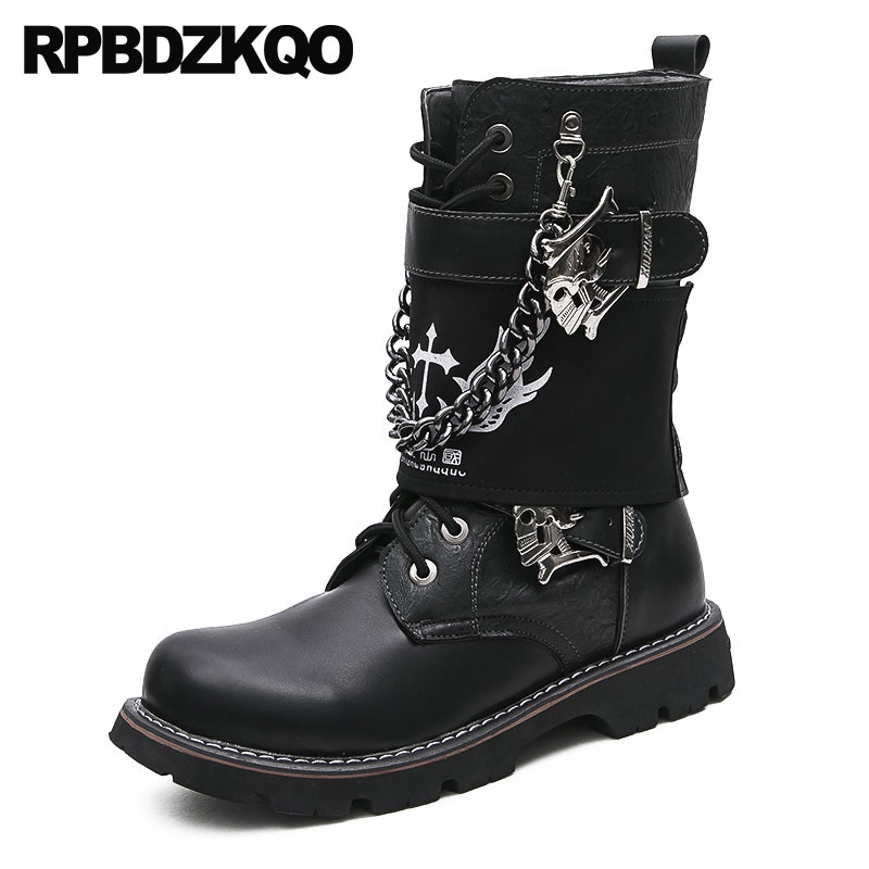 Faux Fur Designer Fashion Military Metalic Men Mid Calf Vintage Motorcycle Boots Shoes Black Combat Army Chunky Rock Punk Winter mens winter boots warm military mid calf durable army 2017 fashion combat motorcycle high top shoes lace up autumn black male