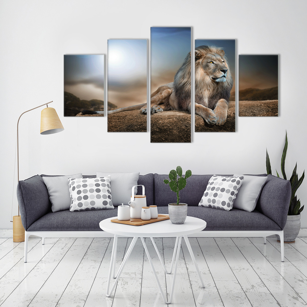 5 Panels HD Printed Male Lion Animal Wall Art Painting Canvas Print Room decor print poster