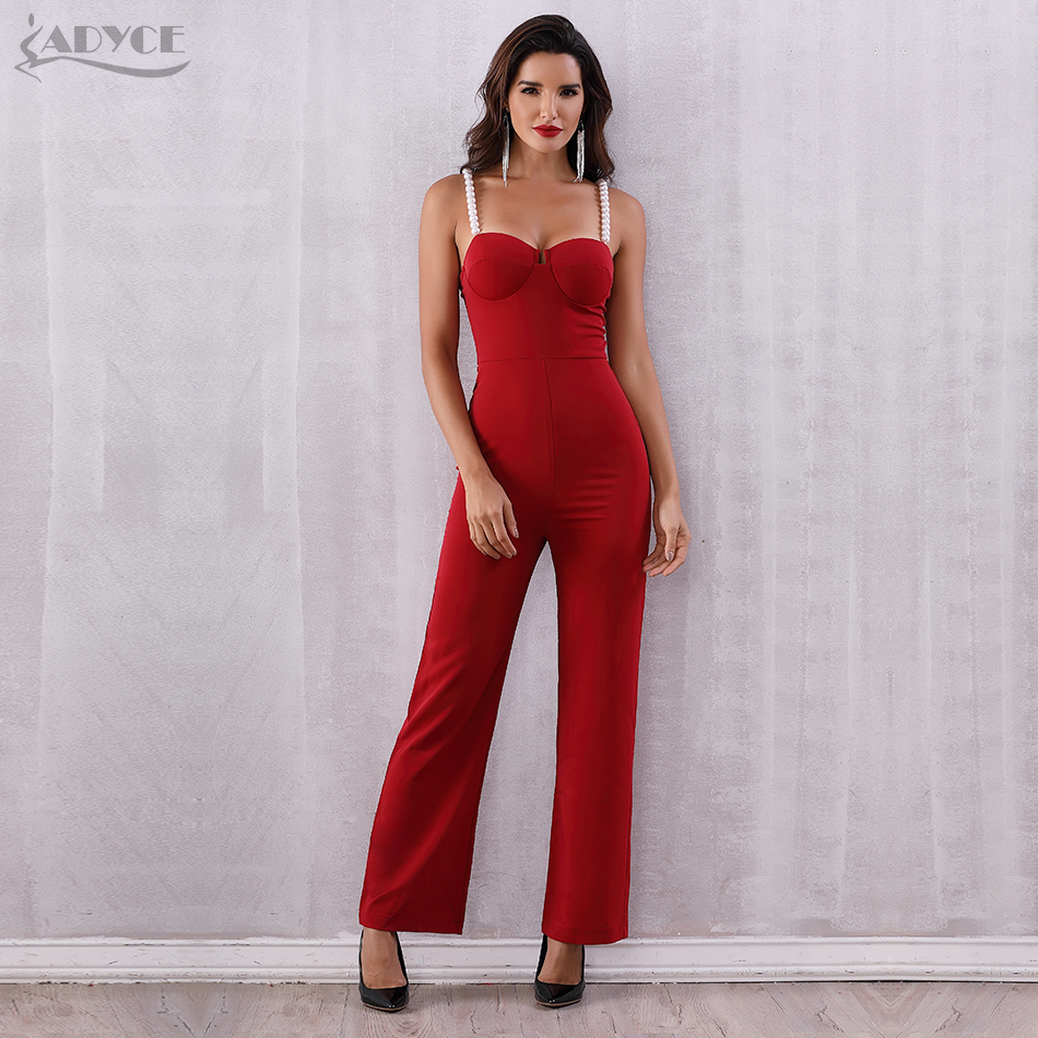 Adyce 2019 New Summer Women Jumpsuits Rompers Elegant Red Sexy Strapless Pearls Beading Jumpsuit Celebrity Party