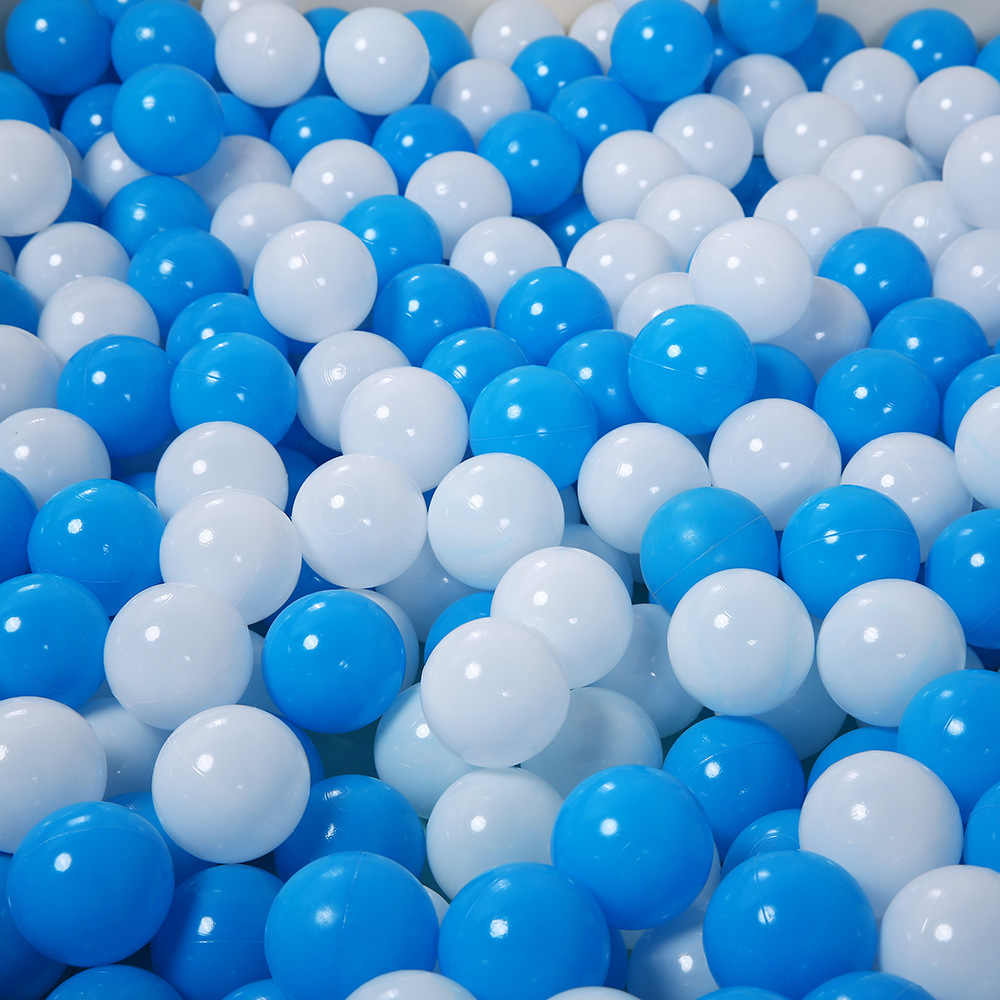 100pcs Eco-Friendly Blue + White Ball Soft Plastic Ocean Ball Funny Baby Kid Swim Pit Toy Water Pool Ocean Wave Ball Dia 5.5cm