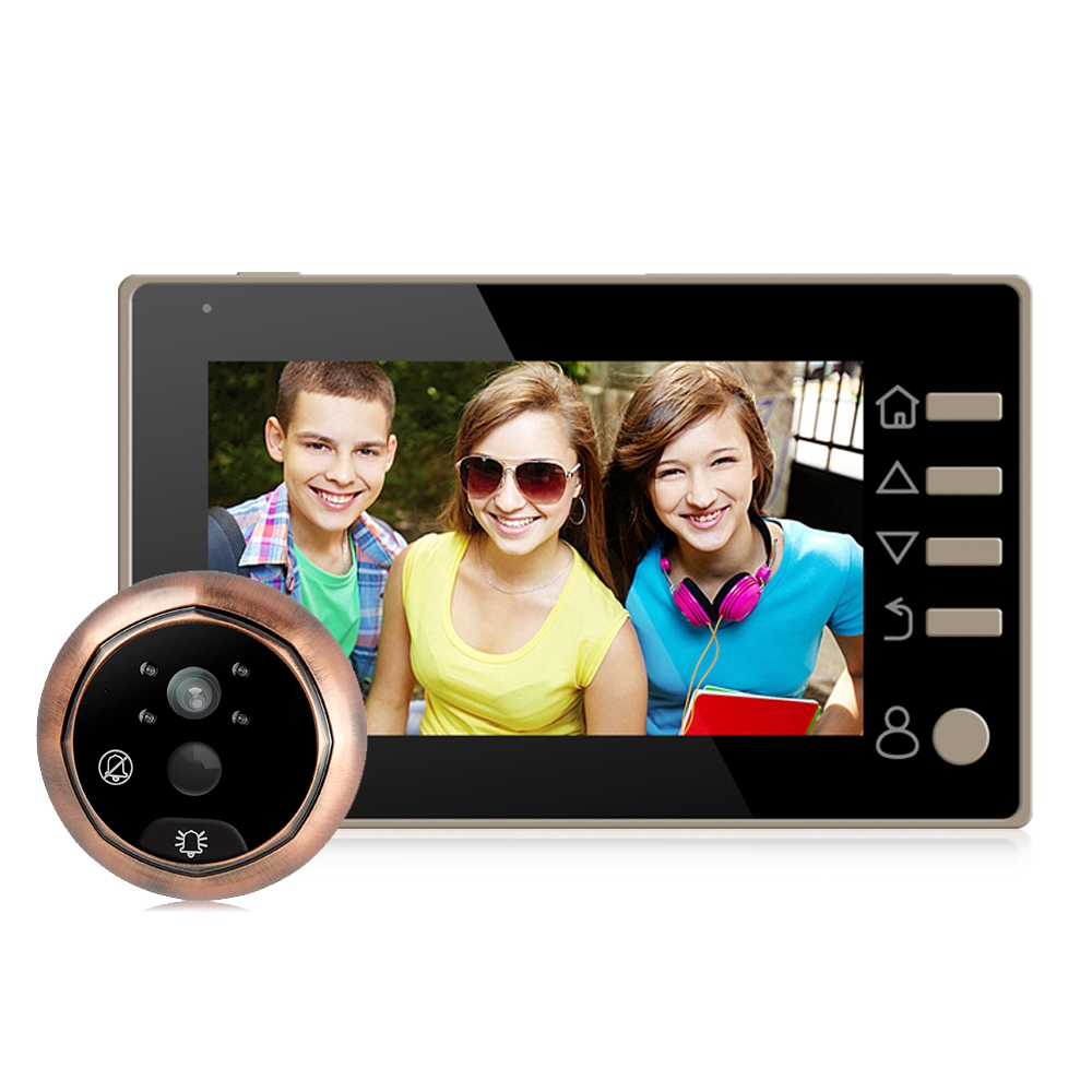 MOOL Danmini 4.3 inch LCD Digital Door Peephole Viewer Video Doorbell 160 Degree 4 LED PIR Door Eye Camera Night Vision Video 4 3 inch lcd digital doorbell 160 degree peephole viewer door eye doorbell color ir camera automatic video recording