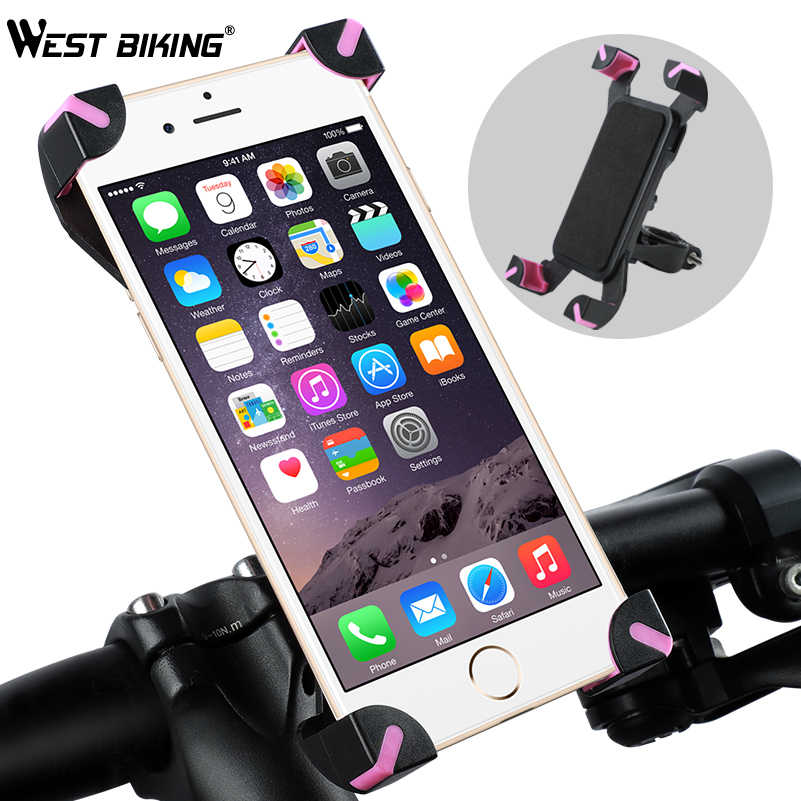 "WEST BIKING Universal Bicycle Phone Holder 3.5-5.5"" Navigation Clip Stand For iPhone X XS 8 Mount Bracket Road Bike Phone Holder"