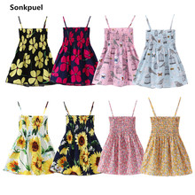 1-7 Years Kids Girl Sling Dresses Summer Chidlren Clothes Toddler Girls Dress Baby Cotton Sleeveless Print Flower Princess Dress(China)