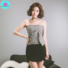 The new word brought off-the-shoulder han edition strapless dress with cultivate ones morality personality coat tide plaid shir