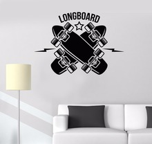 Teen Kids Baby Bedroom Decoration Longboard Skateboarding Sports Art Design Wall Sticker Vinyl Art Removabel Decor LX230 sports art art e875
