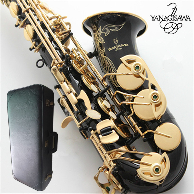 Brand NEW YANAGISAWA A-WO37 Alto black Saxophone Gold Lacquer Gold Key Professional Sax Mouthpiece With Case and Accessories brand new france selmer alto saxophone r54 professional e black white key sax mouthpiece with case and accessories