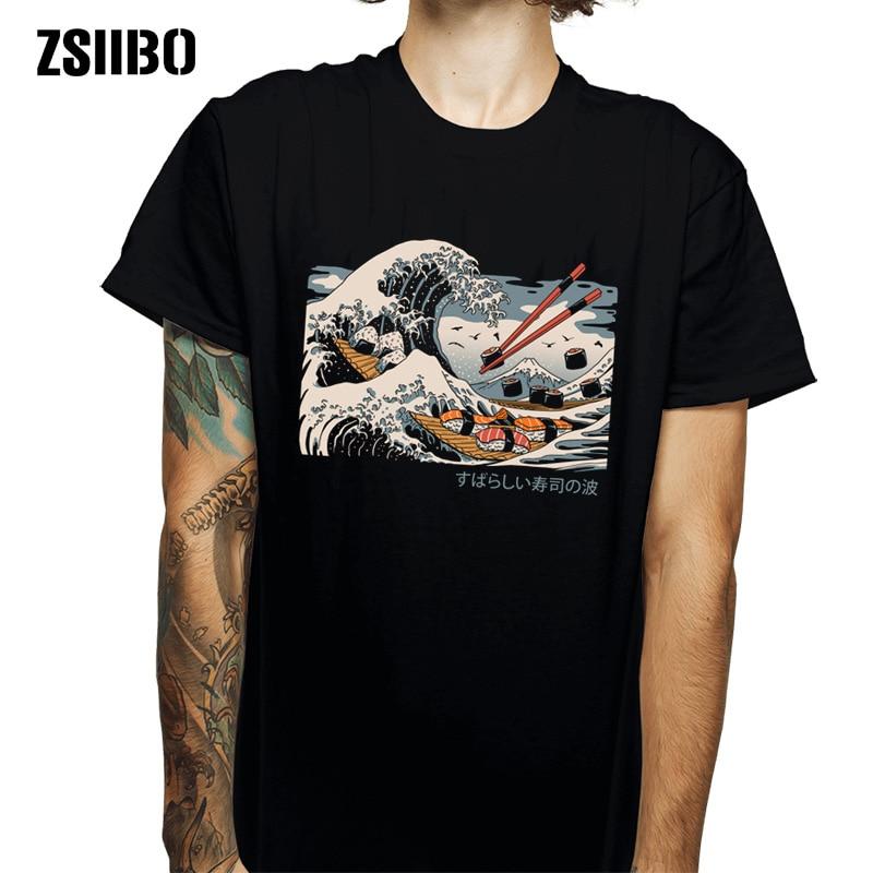 ZSIIBO Japanese Harajuku T-shirt Male 2019 Summer Hip Hop T-shirt Sushi Boat Cartoon Street T-shirt Casual Wave Top HY1MC55