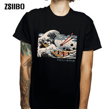 Zsiibo Japanse Harajuku T-shirt Man 2019 Zomer Hiphop T-shirt Sushi Boot Cartoon Straat T-shirt Toevallige Golf Top HY1MC55(China)