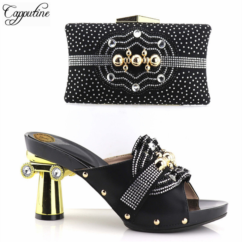 Capputine New Italian Style Rhinestone Shoes And Purse Set African Pumps Shoes And Bags Set For Party Dress size 37-43 On Sale italian visual phrase book