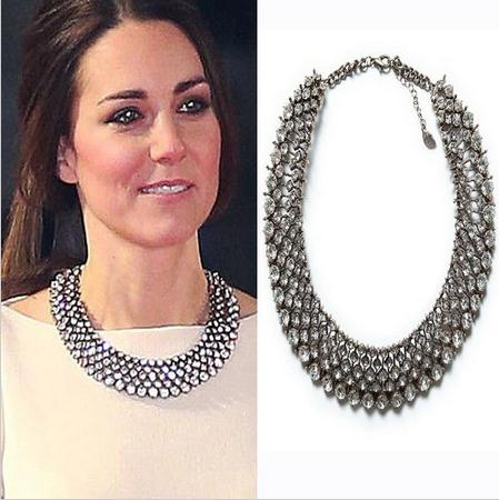 2018 New Kate Middleton necklace necklaces & pendants fashion luxury choker design crystal pendant necklace statement jewelry