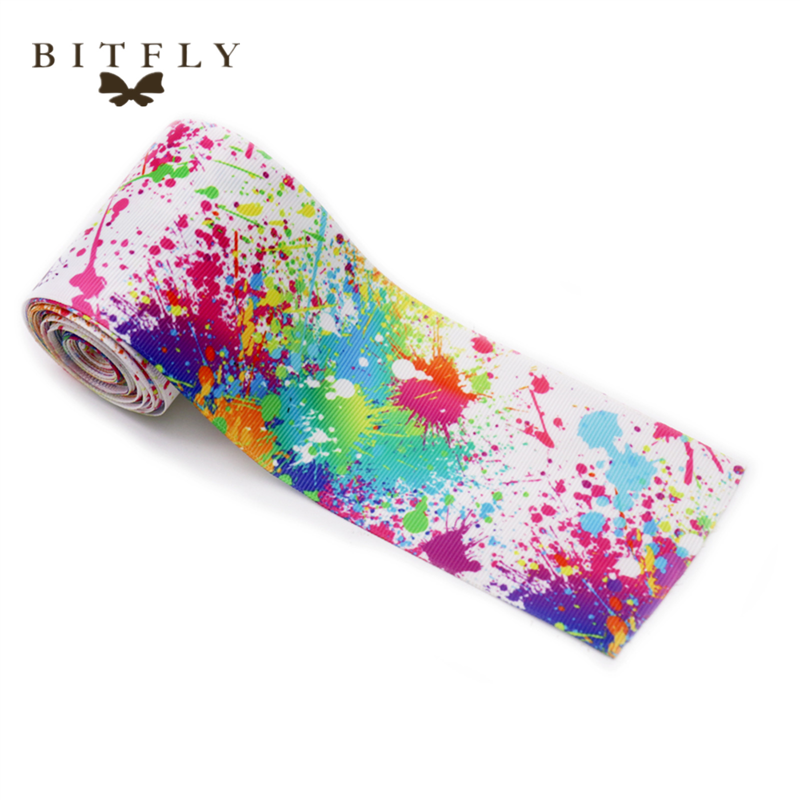 BIT.FLY 1yard 63mm Colorful Printed Grosgrain Ribbon Gift Wrapping DIY Hair Bows Wedding Birthday Party Decoration accessories