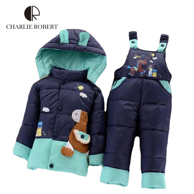 Crianças Jaqueta de Inverno Quente Conjunto de Roupas de Bebê Meninas Meninos Pato Para Baixo Casaco de Inverno Com Capuz Crianças Outerwear Parkas Com Terninho