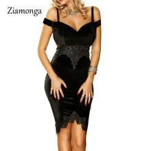 Ziamonga Новое весеннее бархатное мини-платье кружевное повседневное Бандажное платье с открытыми плечами сексуальное Клубное облегающее вечернее платье с коротким рукавом