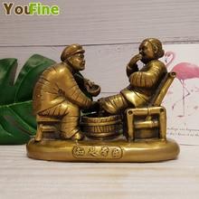 Bronze figure sculpture, contentment, Changle brass figure, home decoration, Chinese love sculpture