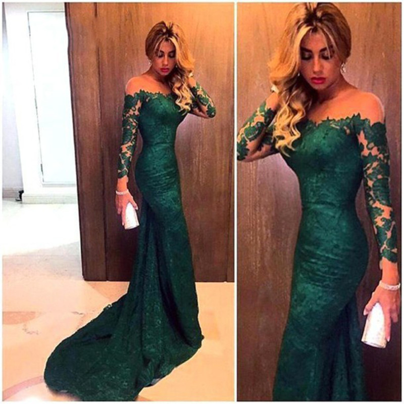 2019 Long Sleeve Green Lace Mermaid   Prom     Dresses   Elegant Sexy Slim Fit   Dresses   Custom Made Formal