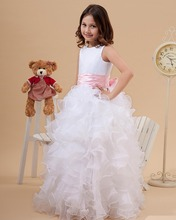 Princess White Jewel Neck Flower Girl Dresses Ruffles A-Line Satin and Organza Cheap Dress for Wedding Party Gowns With Pin