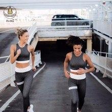 2 Pcs Women Yoga Set Fittness Wear Geometric Sport Clothing Seamless Bra Cross Belt Vest High Waist Leggings Girl Pants
