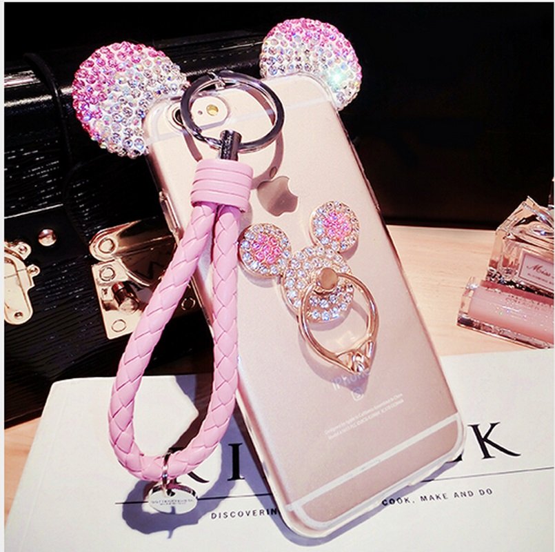 3D Rhinestone Mickey Ears <font><b>Case</b></font> for iPhone 5 SE 6 6S 7 8 Plus Cover With Holder <font><b>Lanyard</b></font> Soft TPU <font><b>phone</b></font> Back Cover Funda Coque