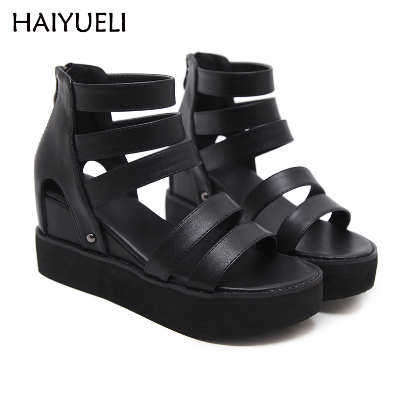 Summer ankle Buckle Women's Sandals Casual wedges Fashion high Heel Platform Open Toes gladiator Women Sandals Shoes rhinestone silver women sandals low heel summer shoes casual platform shiny gladiator sandal fashion casual sapato femimino hot
