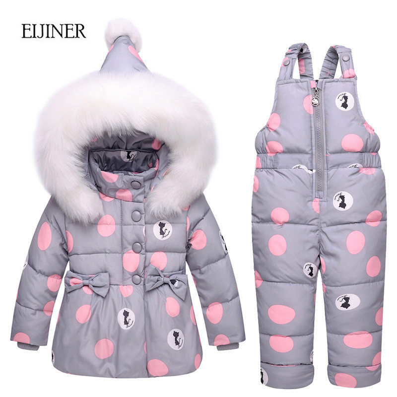 Children Girls Clothing Sets Winter hooded Duck Down Jackets Coats+Trousers Waterproof Snowsuit Warm Kids Baby Girls Clothes 2016 winter boys ski suit set children s snowsuit for baby girl snow overalls ntural fur down jackets trousers clothing sets