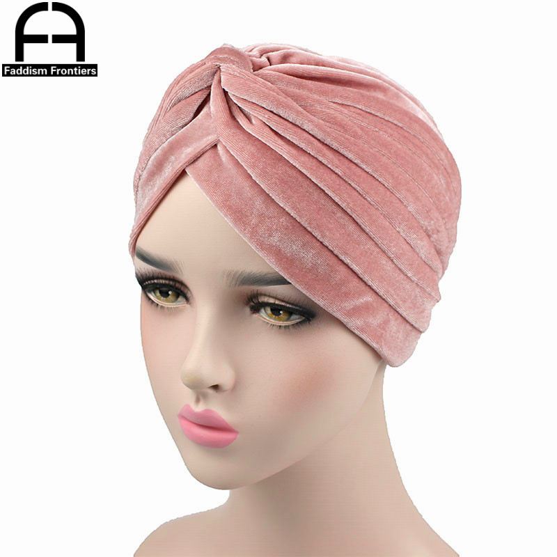 High Quality Women Velvet Turban Casual Vintage Double Stretchy Turban Headband   Headwear   Muslim Turbante Hijab Hair Accessorics