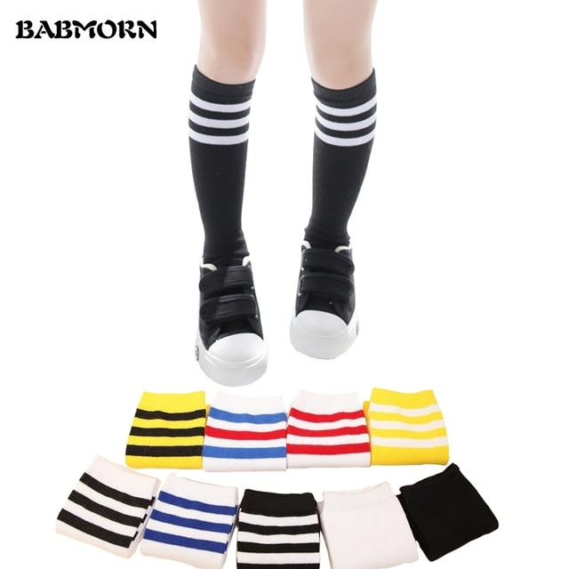 6b16e1b28cb Kids Knee High Socks For Girls Boys Football Stripes Cotton Sports Old  School White Socks Skate Children Baby Long Tube Leg Warm