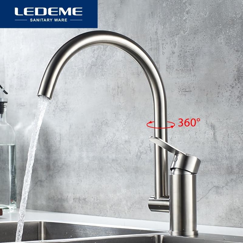 LEDEME кухонные краны из нержавеющей стали, смеситель для кухни, матовый однорычажный смеситель с одним отверстием для кухонной раковины L74003|Смесители для кухни|   | АлиЭкспресс