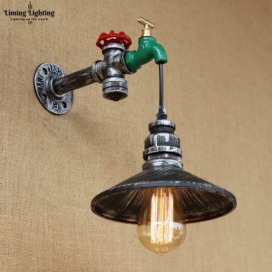 Retro Iron With Switch Steampunk Water Pipe Vintage Loft Wall Lamp E27 110V / 220V Led Lights For Bedroom Living Room Bar Bed steampunk loft 4 color iron water pipe retro wall lamp vintage e27 e26 sconce lights for living room bedroom restaurant bar