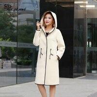 Kaximei Wool Double Faced Fur Sheep Shearling Hooded Jacket Double Sided Wear Lining PU Wool Coat