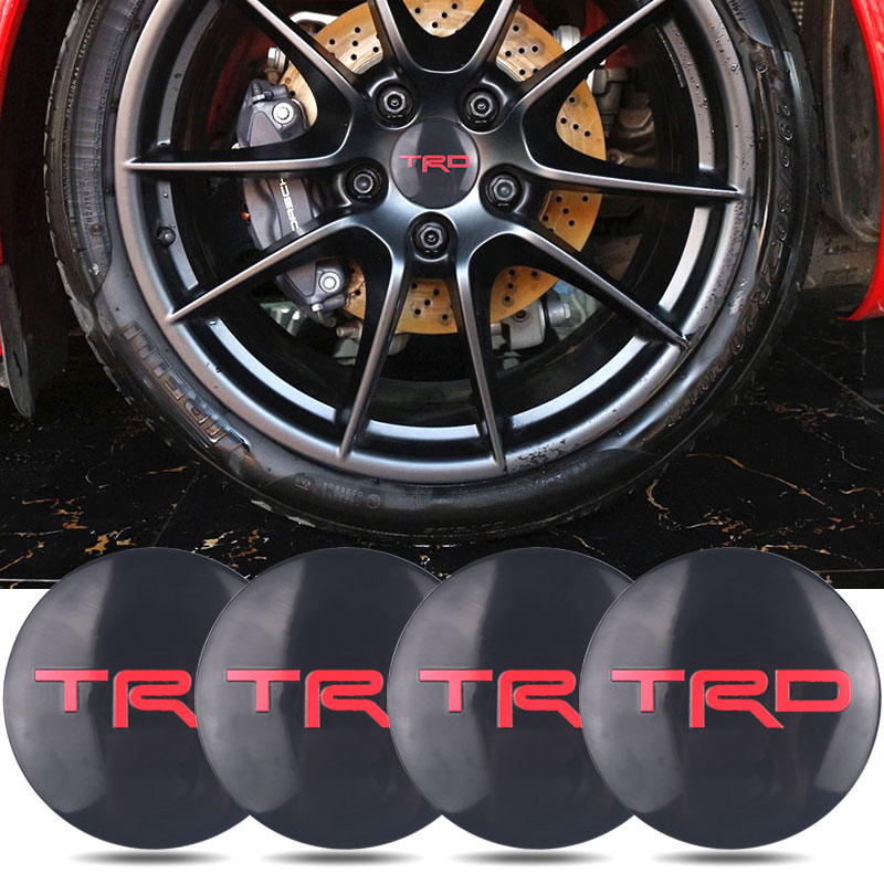 4pcs TRD Racing 56.5mm TRD Sticker Wheel Center Hub Caps Wheel Dust-proof Emblem Covers Label Auto Accessories Car Styling