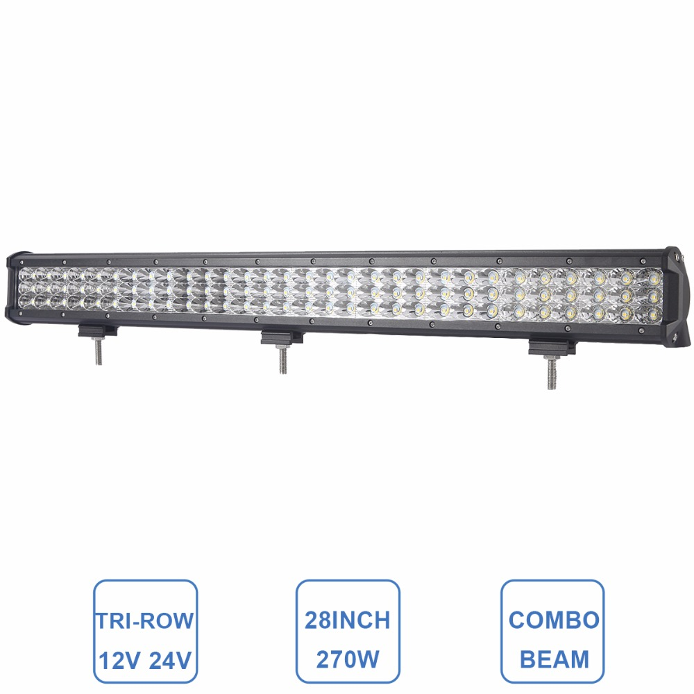 28 Inch LED Driving Light Bar 12V 24V Auto Car SUV ATV RZR UTV Pickup Truck Wagon Camper Work Light Offroad Headlight Lamp 270W