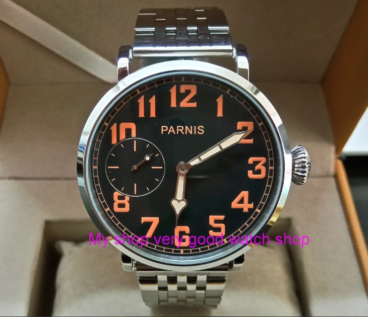46mm parnis Black dial Asian 6497 17 jewels Mechanical Hand Wind movement men watch luminous Mechanical watches zdgd19a limited edition watch 50mm big dial parnis men s watch asian 6498 mechanical hand wind pvd black watchcase 84aa