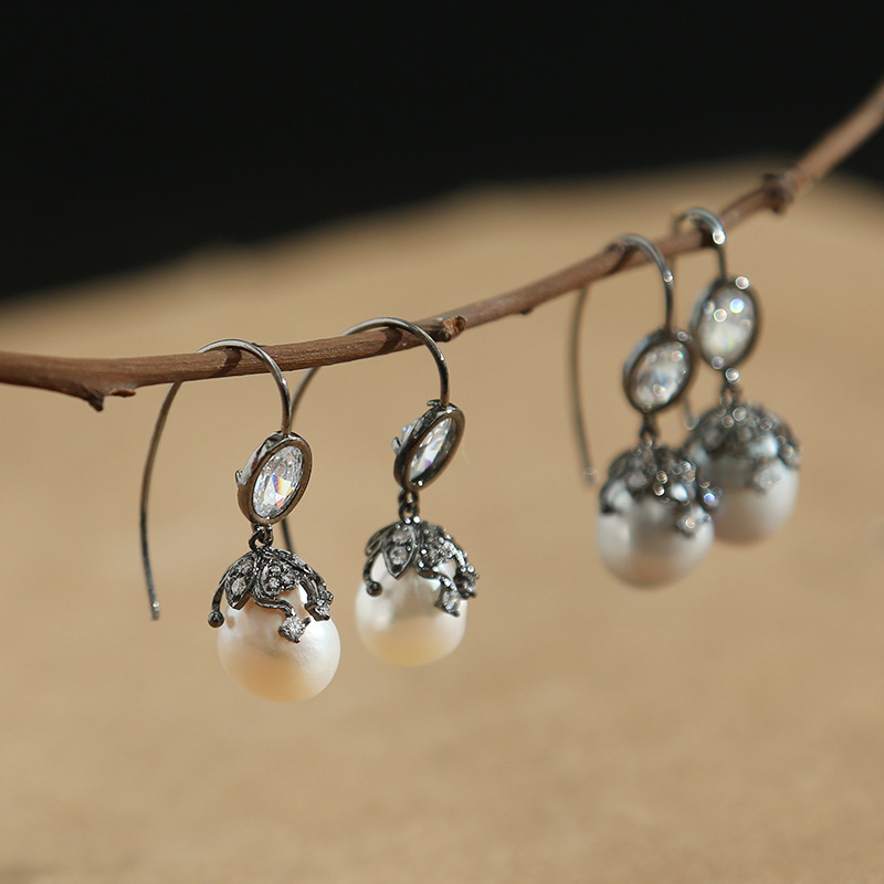 Boucles d'oreilles pendantes de perle grise baroque d'eau douce crochet d'oreille en argent femelle mis boucles d'oreilles faites main de tarière importations en gros