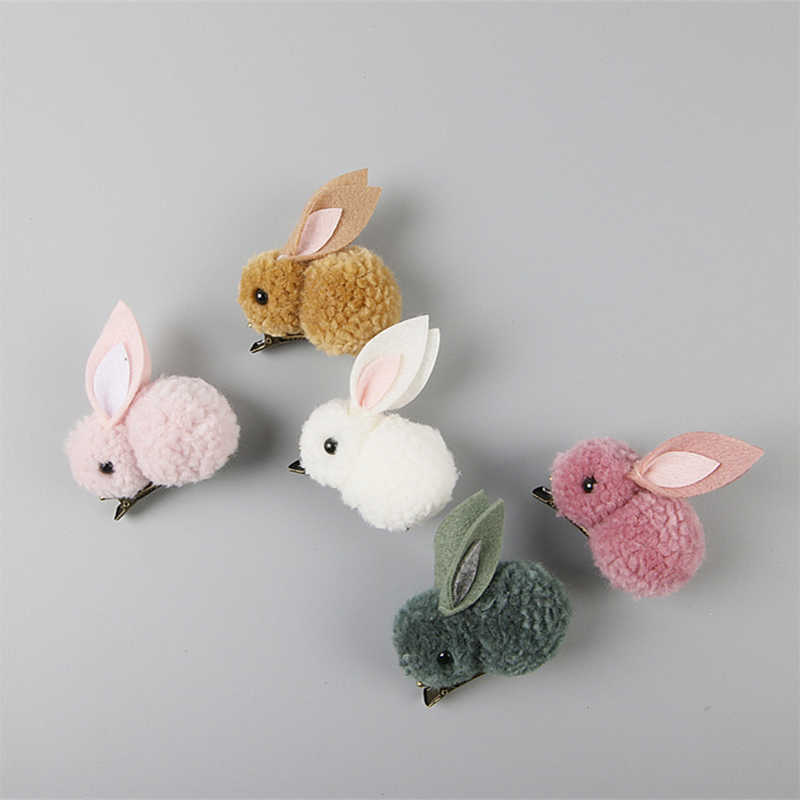 Hot Cute 3D bunny plush rabbit ears hairpin hair ring female head rope children Styling  tool