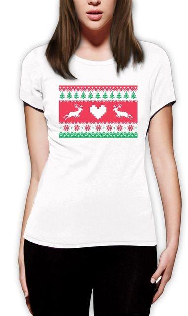 Ugly Christmas Sweater Reindeer Design Xmas Gift Idea Women T Shirt ...