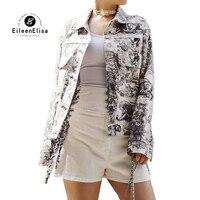 Куртка с принтом пальто Для женщин с длинным рукавом Короткое пальто 2019 отложной воротник хлопок женский пиджак