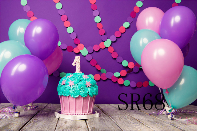 Happy Baby One Year Old Birthday Balloons Photography Backdrops ...