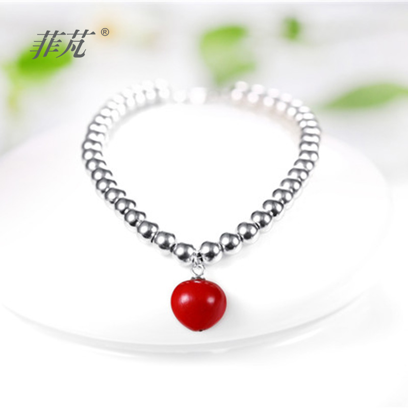 2017 mode 925 Bracelet en argent Platimum plaqué bon cadeau pour les femmes avec haricot Adzuki rouge et pierre zircone cubique