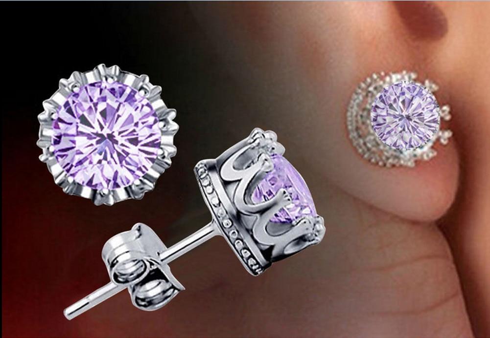 Fashion Crown Earrings Women Brincos De Prata Men Crystal Jewerly Double Stud Earing EAR-0749