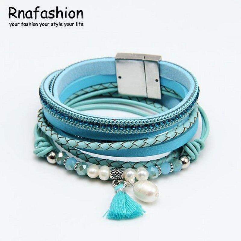 RNAFASHION New Jewellery Braslet Bracelet Bangles For Women Men Pulseira Feminina Leather Bracelet Beads Simulated Charm