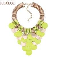 Kcaloe флуоресцентные цвета заявление ожерелье Мода желтый розовый круглый ломтик кисточкой золото Колье богемное колье ожерелье